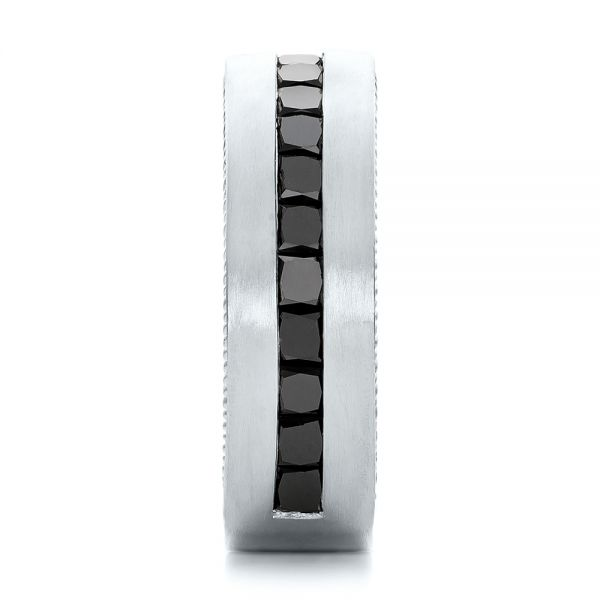 14k White Gold 14k White Gold Custom Black Diamond And Brushed Men's Band - Side View -  102045