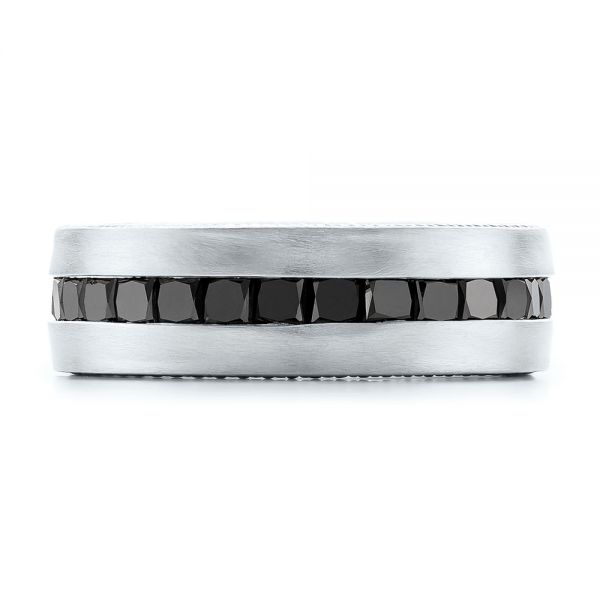 14k White Gold 14k White Gold Custom Black Diamond And Brushed Men's Band - Top View -  102045