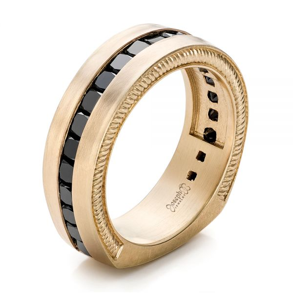 Custom Black Diamond and Brushed Yellow Gold Men's Band - Image