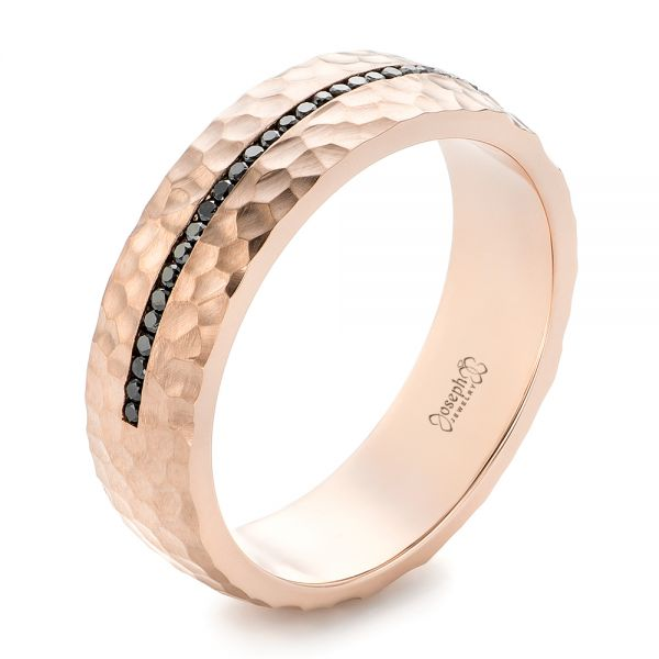 Custom Black Diamonds and Hammered Rose Gold Men's Wedding Band - Image