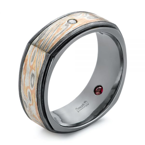 Custom Black, Ruby, and Diamond Mokume Men's Band