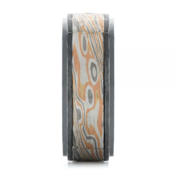 Custom Black Ruby And Diamond Mokume Men's Band - Side View -  104850