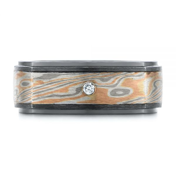 Custom Black Ruby And Diamond Mokume Men's Band - Top View -  104850