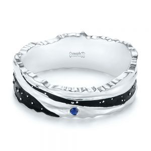 Custom Blue Sapphire Black Antiqued Men's Band