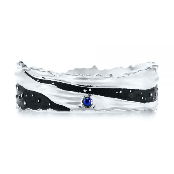 14k White Gold Custom Blue Sapphire Black Antiqued Mens Band - Top View -