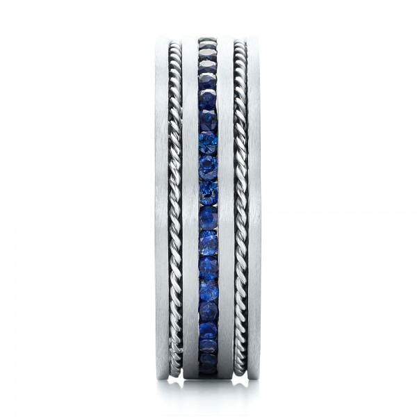 Custom Blue Sapphire Men's Band - Side View