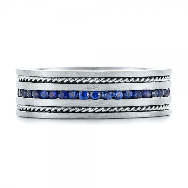 Custom Blue Sapphire Men's Band - Top View