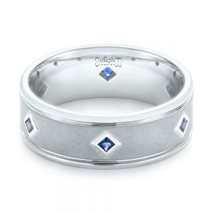 Custom Blue Sapphire Men's Wedding Band