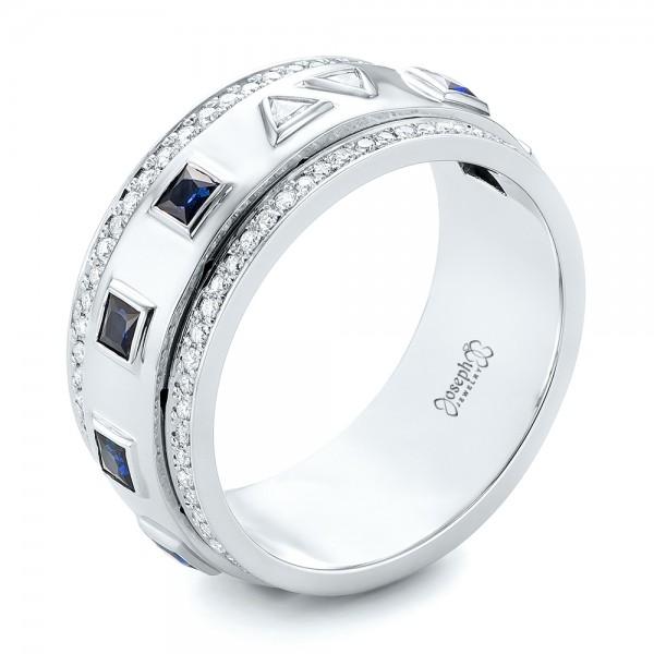 Custom Blue Sapphire And Diamond Mens Band 103352