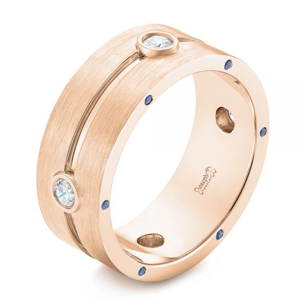 18k Rose Gold 18k Rose Gold Custom Blue Sapphire And Diamond Men's Band - Three-Quarter View -  104257