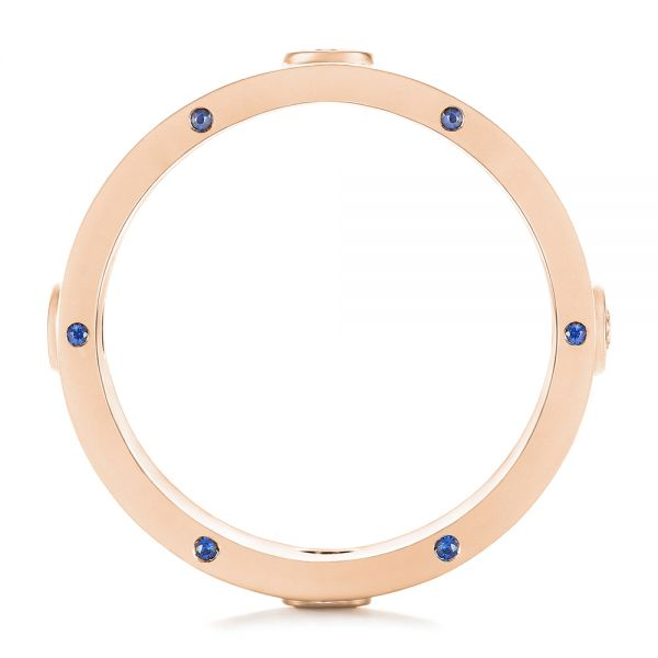 18k Rose Gold 18k Rose Gold Custom Blue Sapphire And Diamond Men's Band - Front View -  104257