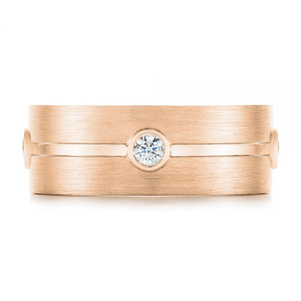 18k Rose Gold 18k Rose Gold Custom Blue Sapphire And Diamond Men's Band - Top View -  104257