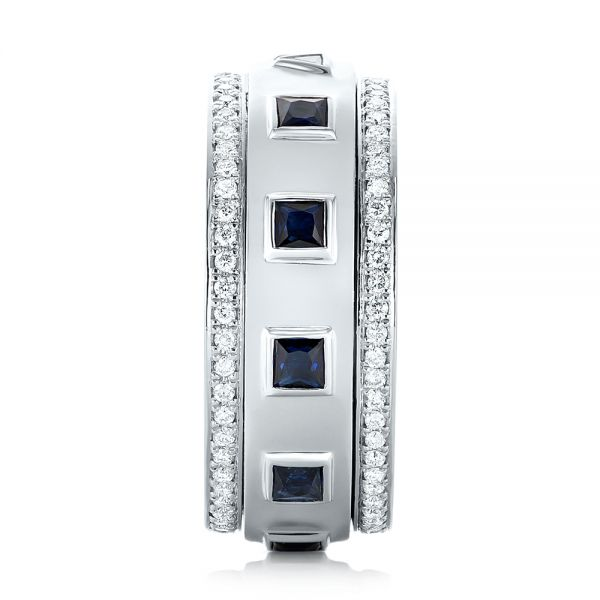 Platinum Custom Blue Sapphire And Diamond Men's Band - Side View -