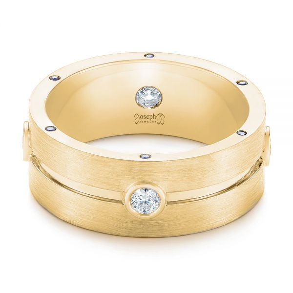 14k Yellow Gold 14k Yellow Gold Custom Blue Sapphire And Diamond Men's Band - Flat View -  104257
