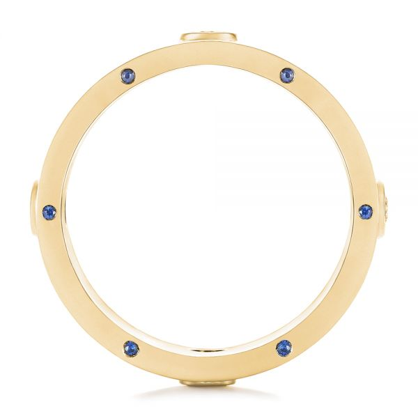 14k Yellow Gold 14k Yellow Gold Custom Blue Sapphire And Diamond Men's Band - Front View -  104257