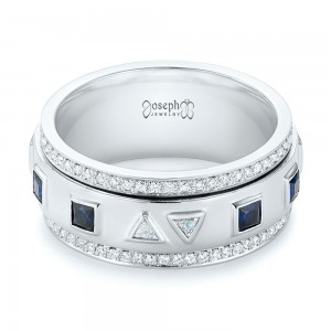 Custom Blue Sapphire and Diamond Men's Band