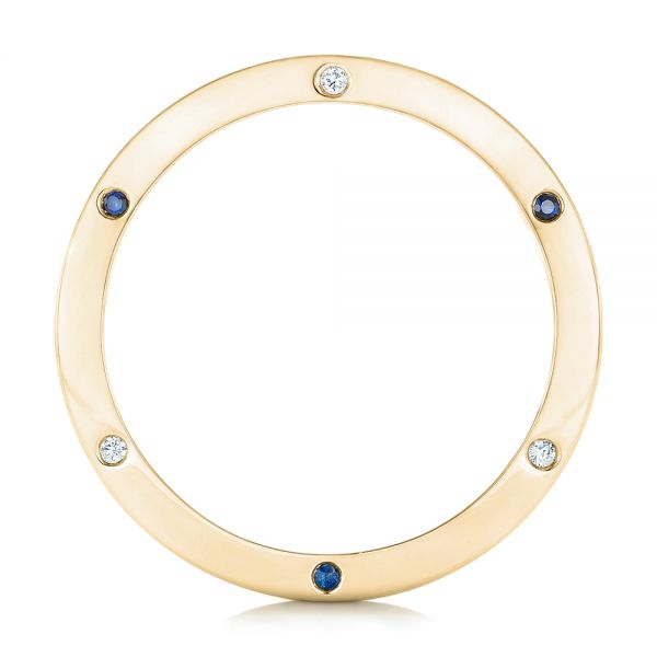 18k Yellow Gold 18k Yellow Gold Custom Blue Sapphire And Diamond Men's Wedding Band - Front View -