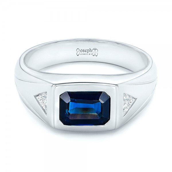 Custom Blue Sapphire and Diamond Men's Wedding Band - Laying View