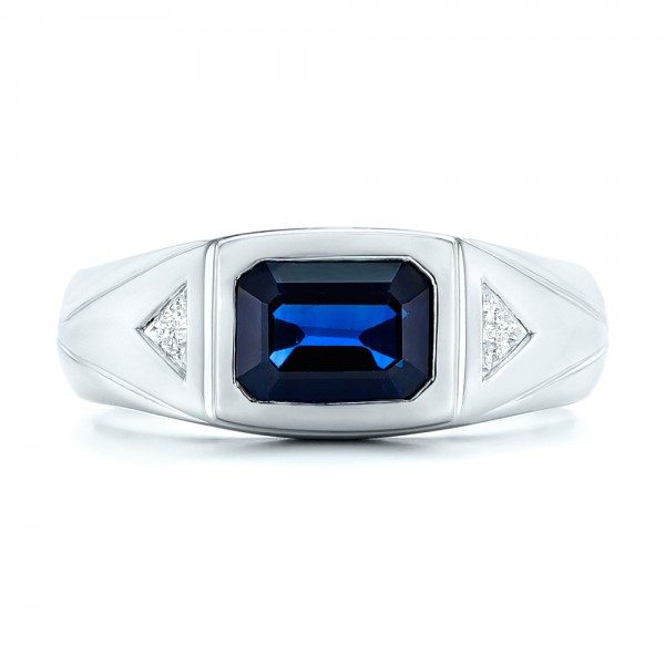 Custom Blue Sapphire and Diamond Men's Wedding Band - Top View