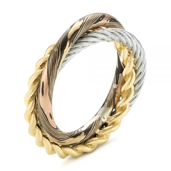 Custom Braided Mokume, White and Yellow Gold Wedding Band - Image
