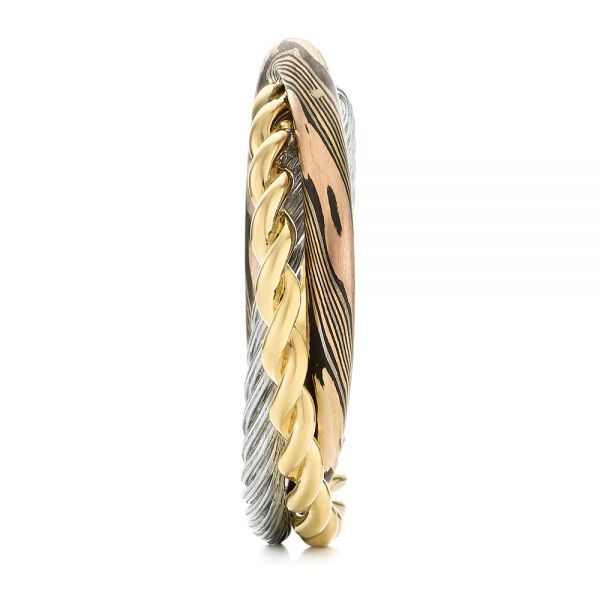 Custom Braided Mokume, White and Yellow Gold Wedding Band - Side View -  103986 - Thumbnail