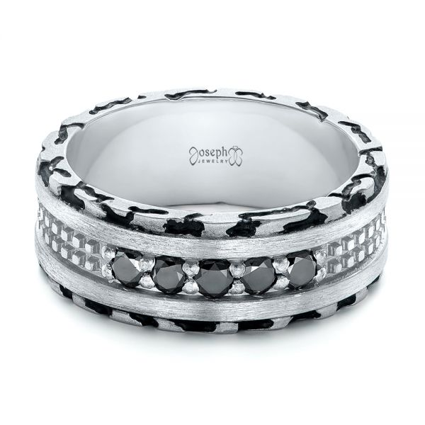 Platinum Custom Brushed Black Diamond Men's Band - Flat View -