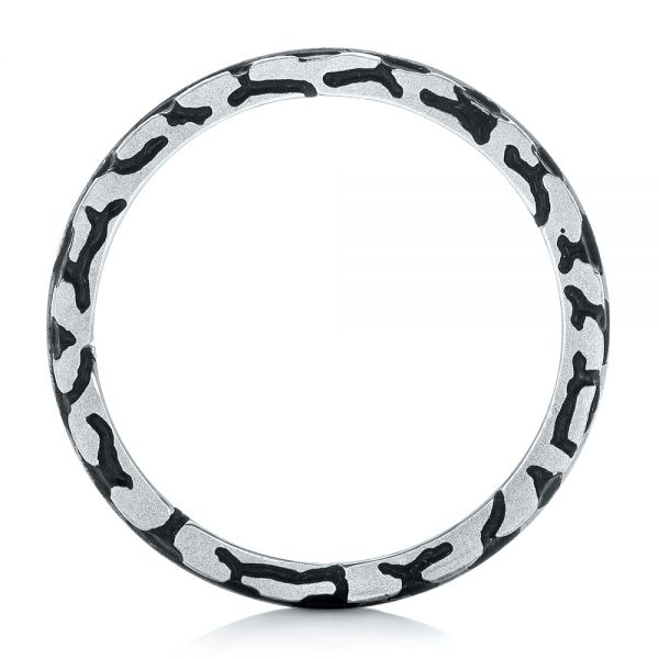 Platinum Custom Brushed Black Diamond Men's Band - Front View -