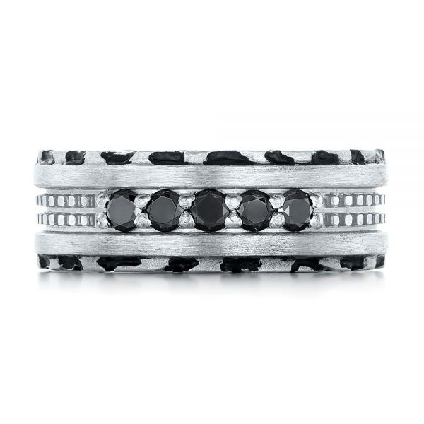 Platinum Custom Brushed Black Diamond Men's Band - Top View -