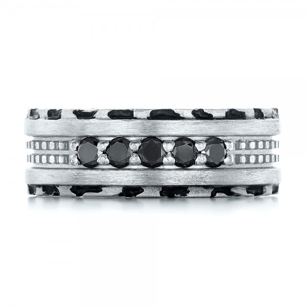 Custom Brushed Black Diamond Men's Band - Top View -  102804 - Thumbnail