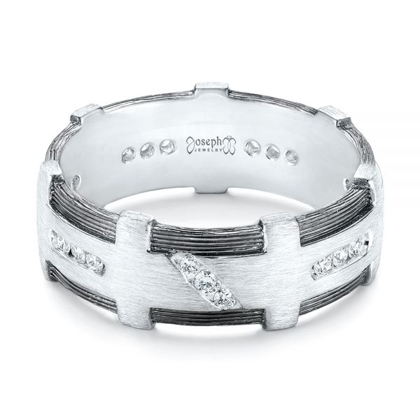 Platinum Custom Brushed Diamond Men's Band - Flat View -  102988