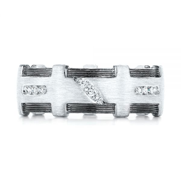 Platinum Custom Brushed Diamond Men's Band - Top View -  102988