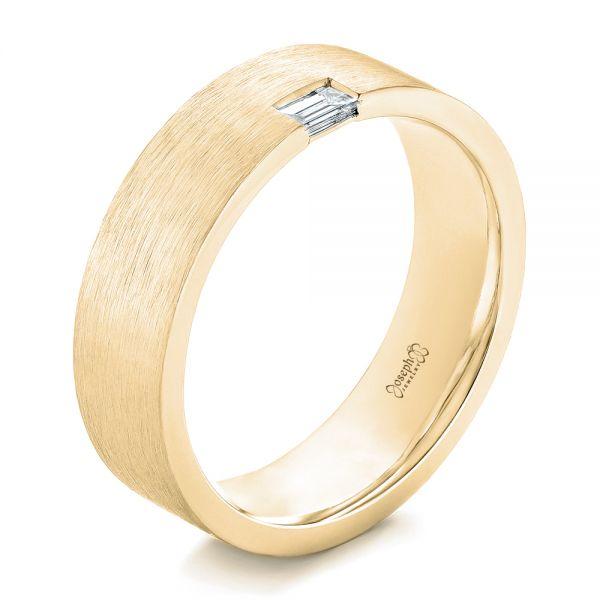 14k Yellow Gold 14k Yellow Gold Custom Brushed Diamond Men's Band - Three-Quarter View -  102799
