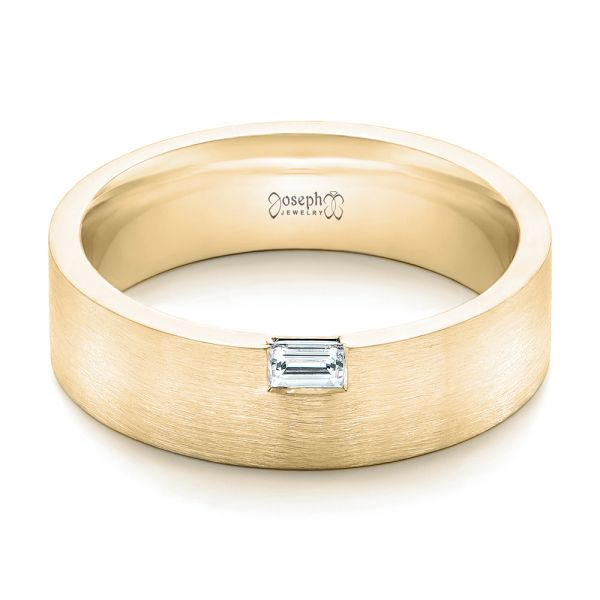 14k Yellow Gold 14k Yellow Gold Custom Brushed Diamond Men's Band - Flat View -  102799