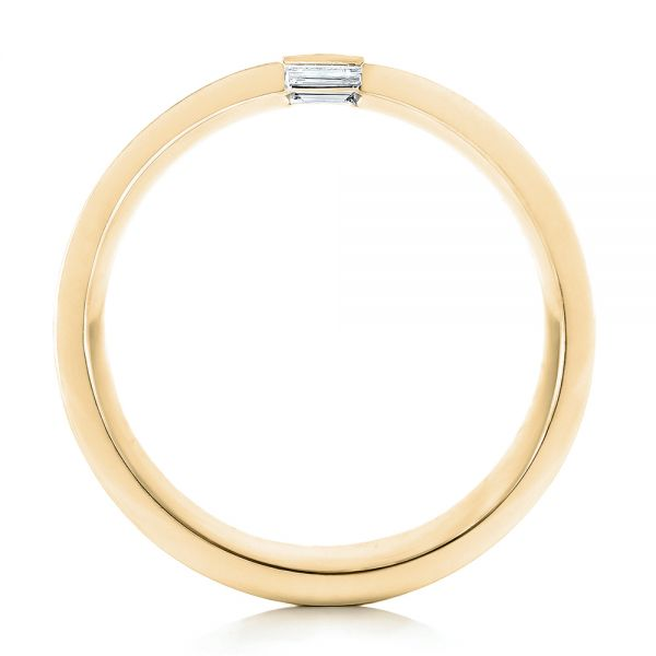 14k Yellow Gold 14k Yellow Gold Custom Brushed Diamond Men's Band - Front View -  102799
