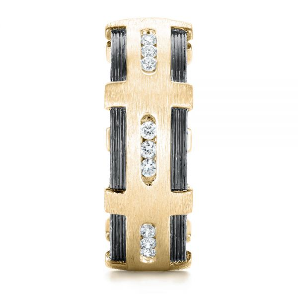 14k Yellow Gold 14k Yellow Gold Custom Brushed Diamond Men's Band - Side View -
