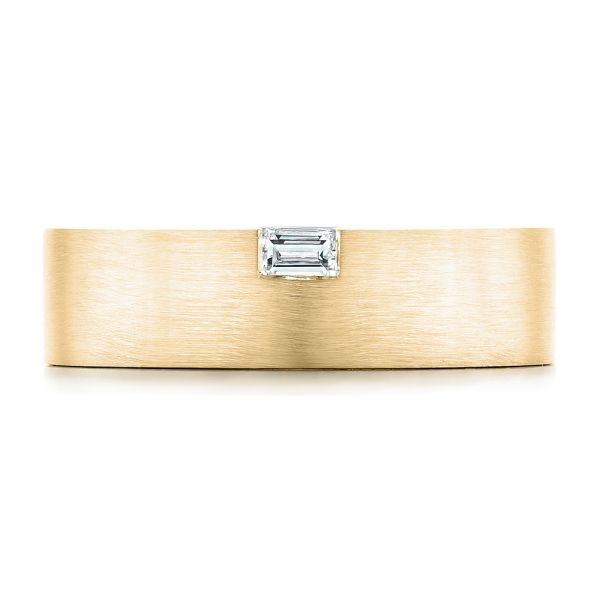 14k Yellow Gold 14k Yellow Gold Custom Brushed Diamond Men's Band - Top View -  102799