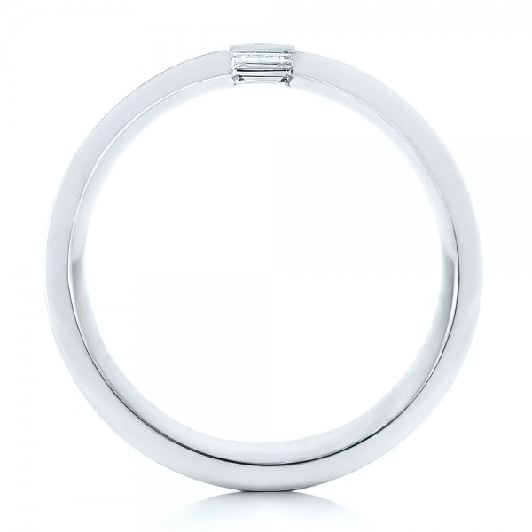 Custom Brushed Diamond Men's Band - Finger Through View