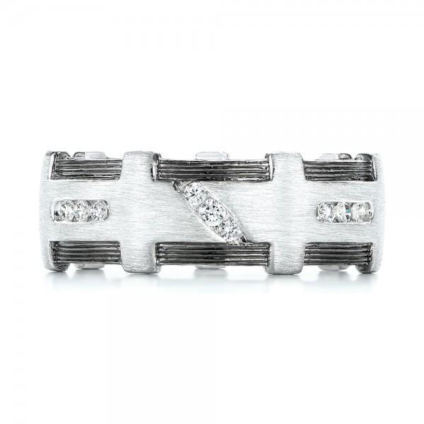 Custom Brushed Diamond Men's Band - Top View