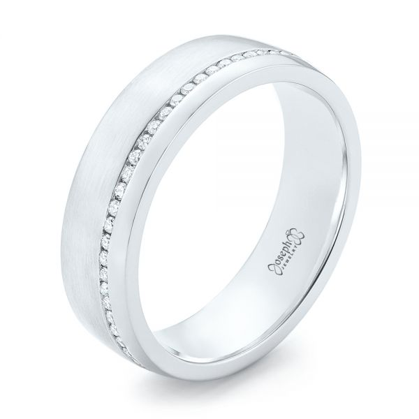 Custom Brushed Diamond Men's Wedding Band - Image