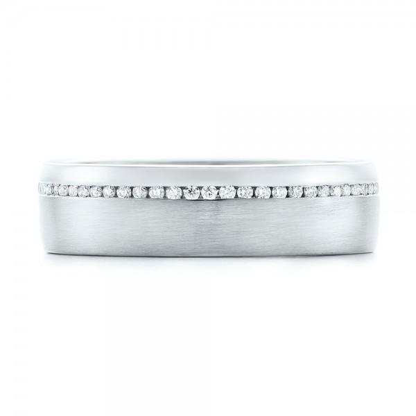 Custom Brushed Diamond Men's Wedding Band - Top View