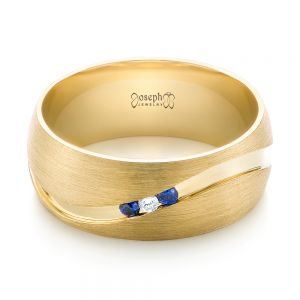 Custom Brushed Finish Blue Sapphire and Diamond Men's Band