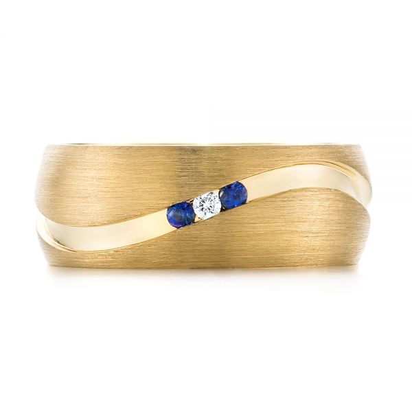 Custom Brushed Finish Blue Sapphire and Diamond Men's Band - Top View -  103653 - Thumbnail