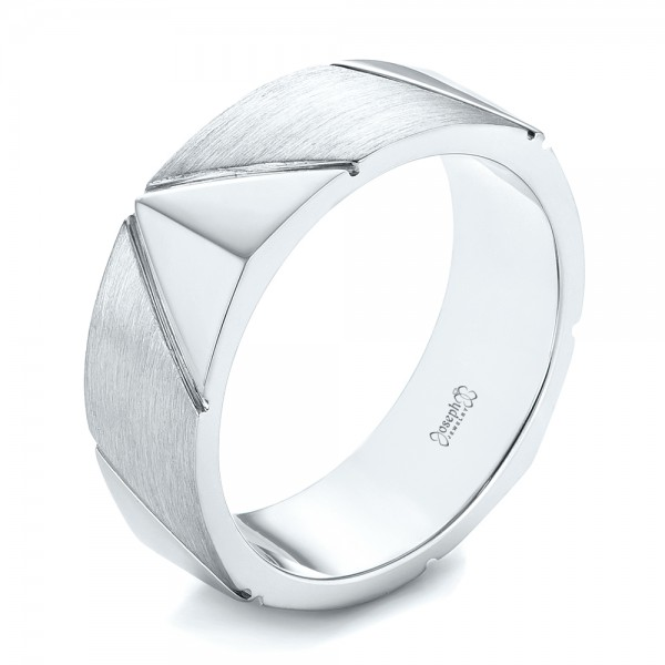 Custom Brushed Men's Wedding Band - Three-Quarter View -  103360 - Thumbnail