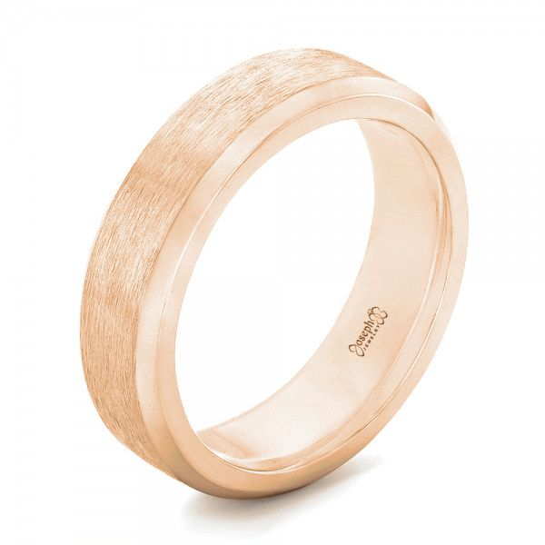 18k Rose Gold 18k Rose Gold Custom Brushed Men's Wedding Band - Three-Quarter View -  102843