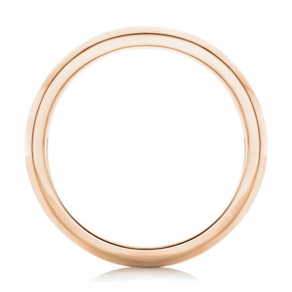 18k Rose Gold 18k Rose Gold Custom Brushed Men's Wedding Band - Front View -  102843