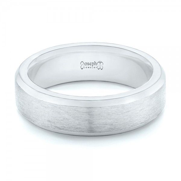 Platinum Custom Brushed Men's Wedding Band - Flat View -