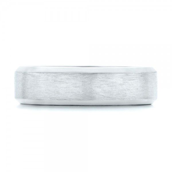 Platinum Custom Brushed Men's Wedding Band - Top View -