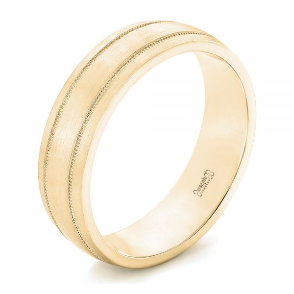 14k Yellow Gold 14k Yellow Gold Custom Brushed Men's Wedding Band - Three-Quarter View -