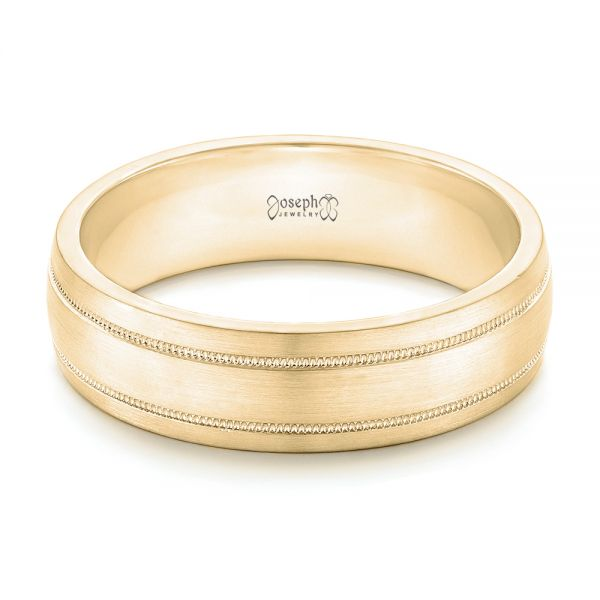 14k Yellow Gold 14k Yellow Gold Custom Brushed Men's Wedding Band - Flat View -
