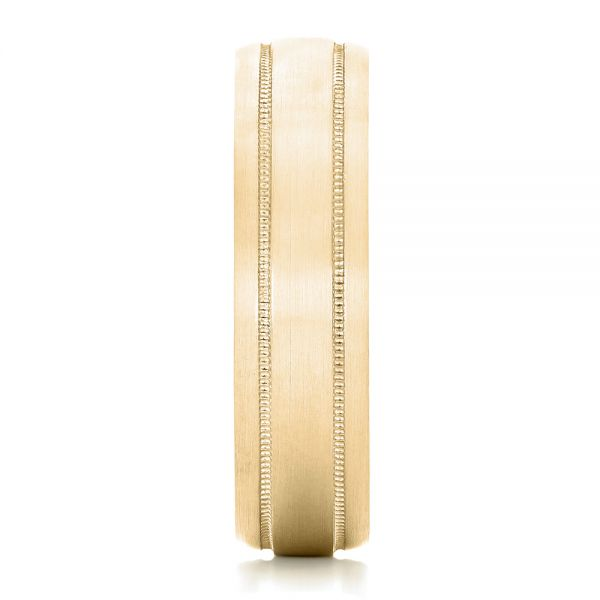 14k Yellow Gold 14k Yellow Gold Custom Brushed Men's Wedding Band - Side View -